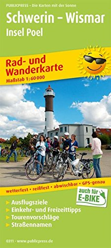 Schwerin - Wismar, Insel Poel: Rad- und Wanderkarte mit Ausflugszielen, Einkehr- & Freizeittipps